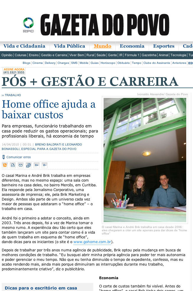 Go Home Office na Gazeta do Povo